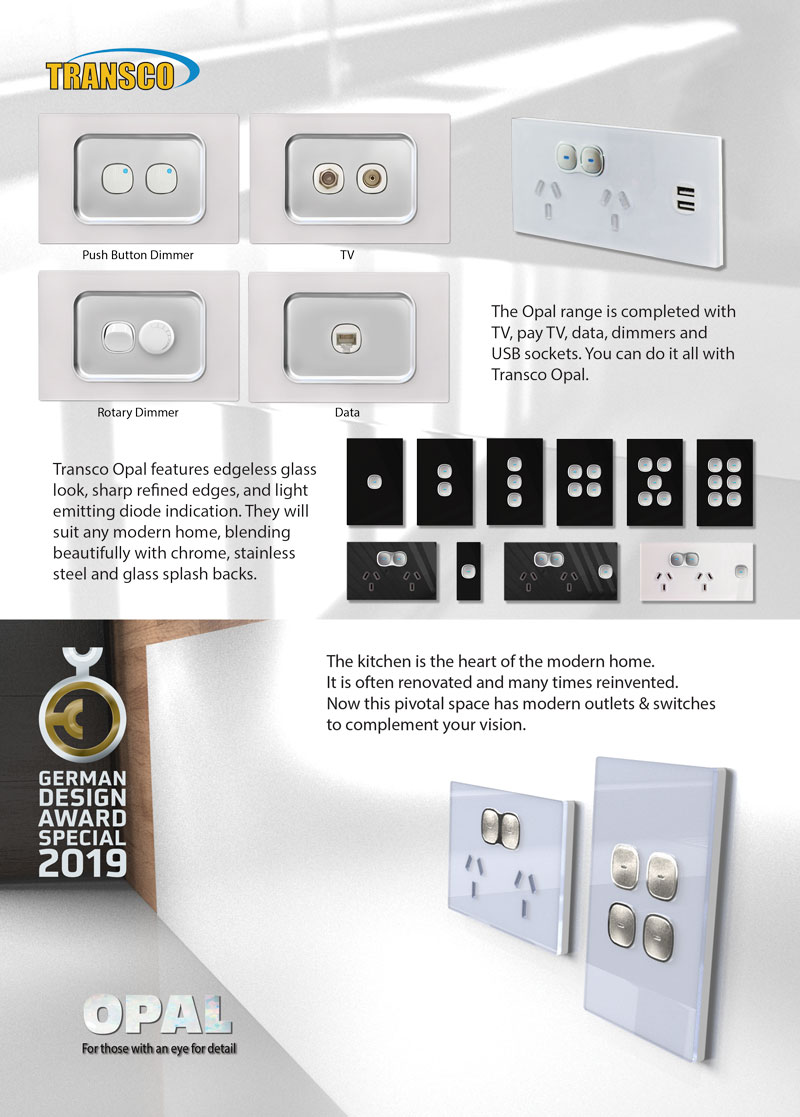 Opal Glass Look Range | Outlet and Switch