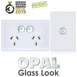 Glass-look OPAL Double Outlet GPO| Outlet and Switch
